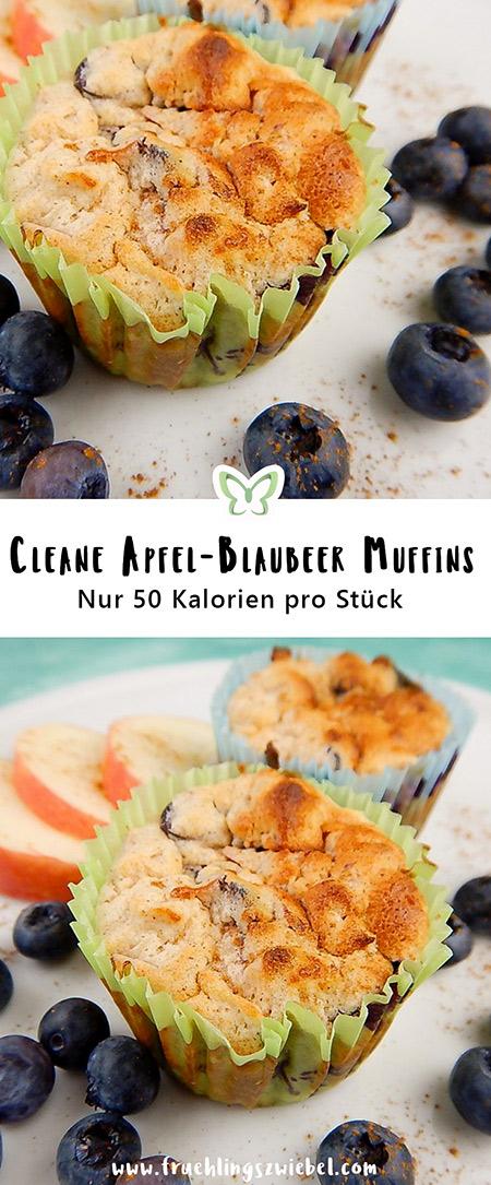 Gesunde Muffins mit Blaubeeren und Apfel - glutenfrei, lowfat