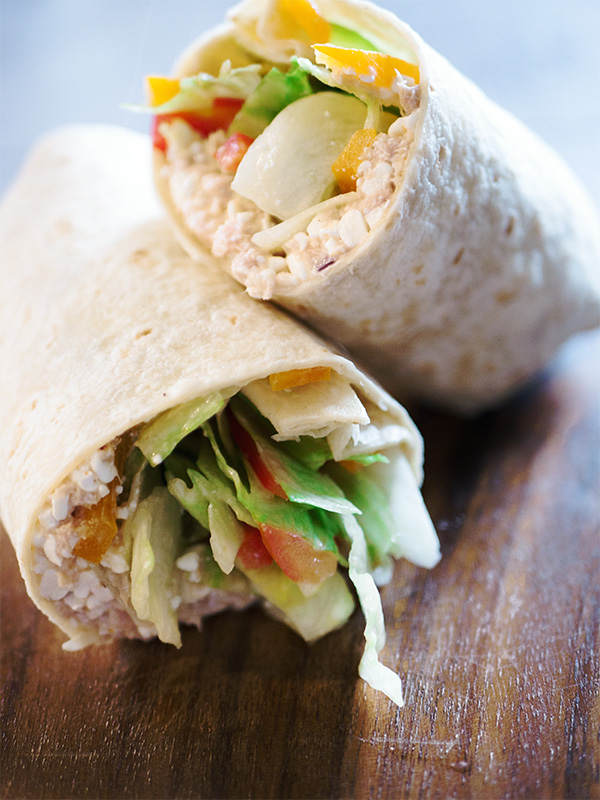 Wraps mit Thunfisch und Hüttenkäse