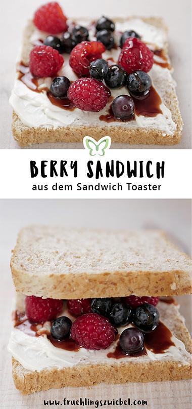 Macht euch ein leckeres süßes Sandwich mit Vollkorntoast, Beeren, Frischkäse und Dattelsirup - gesund, einfach und schnell