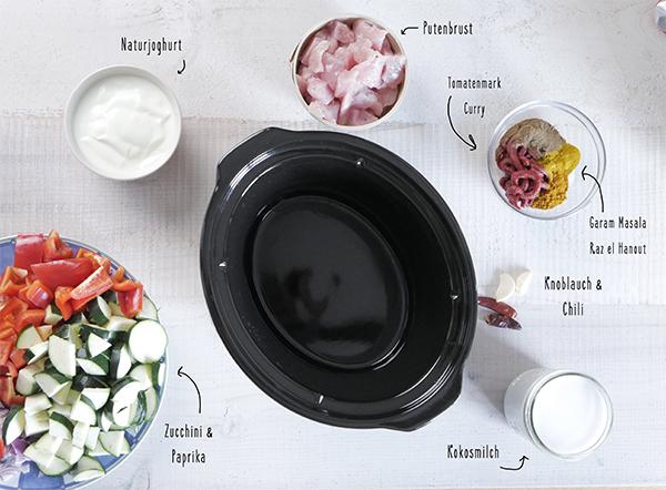 So machst du dir ein schnelles und gesundes Hähnchen Curry aus dem Crockpot