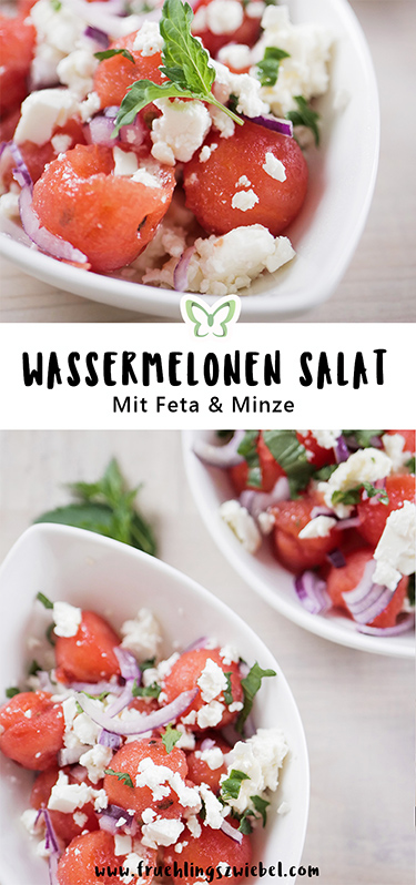 Wassermelone mal herzhaft. Wassermelonen Salat mit Feta und Minze