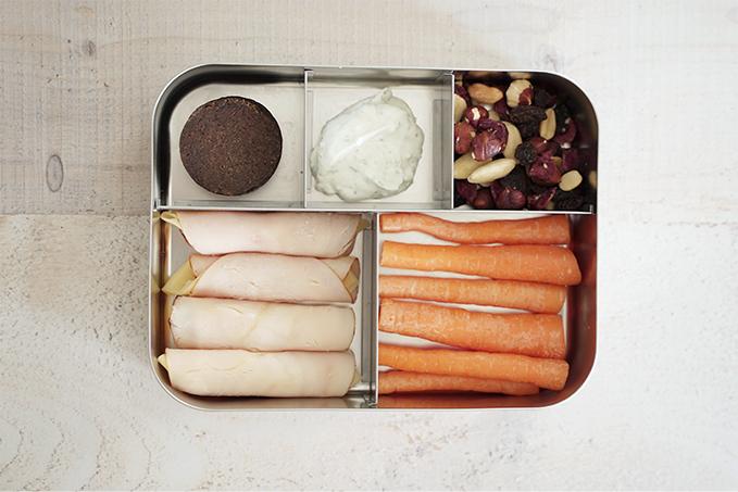 Gesundes Pausenbrot - Lunchbox mit Pumpernickel und Putenbrust-Käse-Röllchen