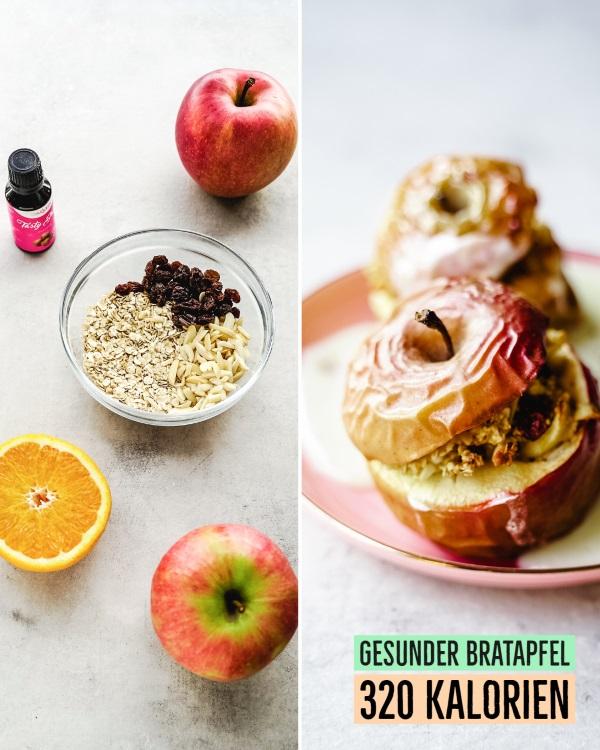 Rezept für gesunde und kalorienarme Bratäpfel mit Haferflocken Füllung