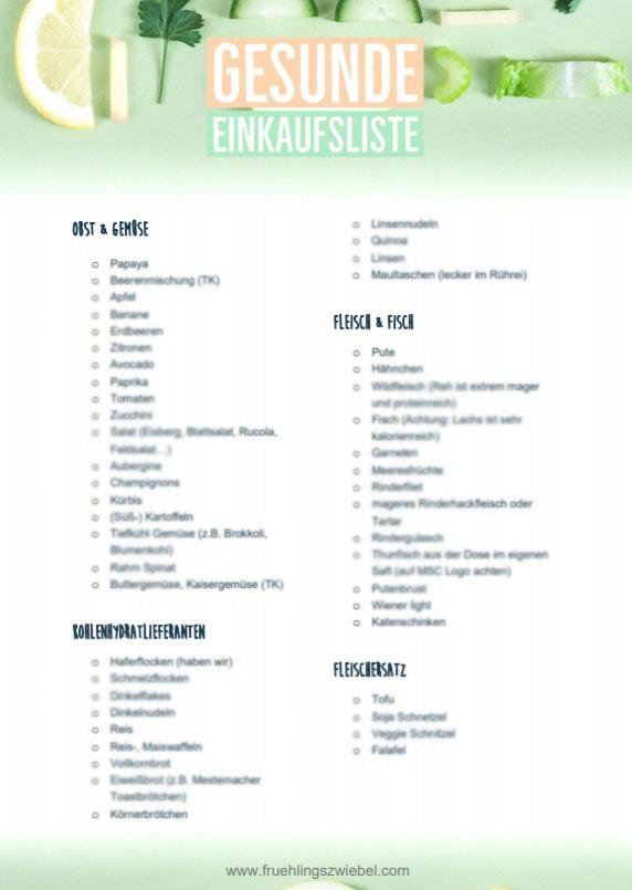 Gesunde Einkaufsliste zum Abnehmen - kostenloses PDF