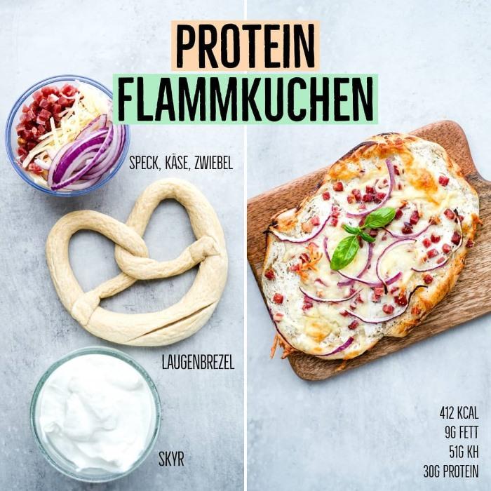 Protein Flammkuchen aus Tiefkühl Brezeln